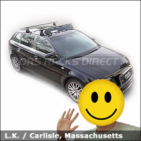 Audi a3 with Thule 400XT Aero Roof Rack and Thule 871 Noise-Wind Fairing