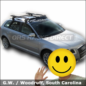 "Audi a3 with Yakima Q Towers Roof Rack, Yakima 44"" Fairing and Yakima Viper Bike Racks"
