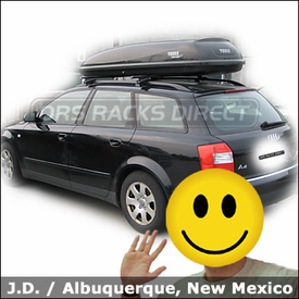 Audi a4 Luggage Roof Rack with Thule 450 CrossRoad and Thule 678XT Cascade 1700 Cargo Box