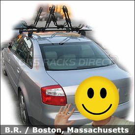 Audi A4 Roof Rack for Kayaks with Yakima Q Towers Base System and Yakima HullRaiser Kayak Racks