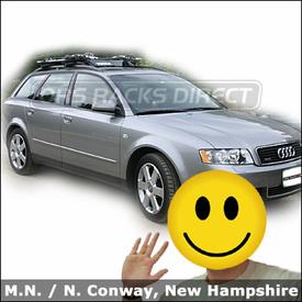 Audi a4 wagon with Thule 450 Crossroad Car Rack, 870 Fairing and Thule 598 Criterium Bike Rack