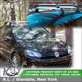 Bike Rack and Ski Rack Mounted Flush to 2010 VW Golf TDI Votex OEM Roof Rack Crossbars