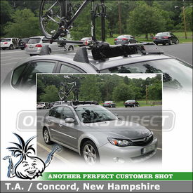 Bike Rack and Wind Fairing for 2010 Subaru Outback Sport Factory Cross Bars using Yakima ForkLift & Inno Roof Fairing
