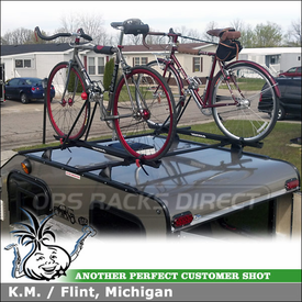 Bike Roof Rack Cross Bars for Factory Tracks on a Cargo Lite Camper