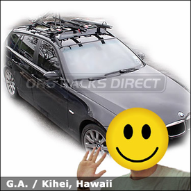 "BMW 3 Wagon with Yakima Lowrider Roof Rack, Yakima 32"" Fairing and Yakima Viper Bike Racks"