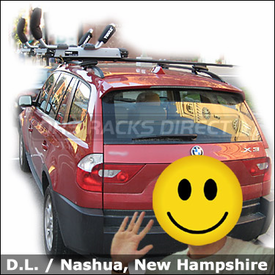BMW X3 Roof Rack for Kayak with Thule 450 CrossRoad System and Thule 897XT Hullavator Kayak Rack