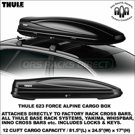 Brand-New Thule 623 Force Alpine Rooftop Container for Luggage-Gear-Skis-Snowboards