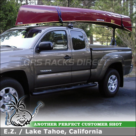 Canoe Truck Rack for 2012 Toyota Tacoma Access Cab Pickup using Thule 480 Traverse Half Pack w/ 1511 Fit Kit & LB58 Bar, 997 GoalPost Hitch Rack, 503 Load Stops-523 Straps