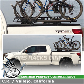 "Cargo Basket + 2 Bike Racks for 2008 Toyota Tundra Bed Rails Tonneau Cover Rack using Yakima Control Towers (w/ Landing Pads 1 & 78"" Cross Bars), LoadWarrior Basket & Extension, High Rollers, Accessory Lock Housing"