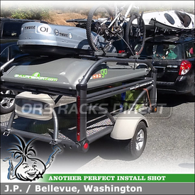 Cargo Box & Bike Rack for Sylvan Sport Go Trailer On 2009 Subaru Outback Receiver Hitch Ball Mount using 12284 CURT Trailer Hitch, Thule Atlantis 1200 Luggage Carrier, 594XT Side Arm Bike Mount