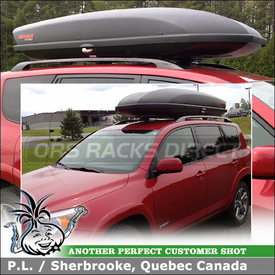 Cargo Luggage Roof Box for 2008 Toyota RAV4 Factory Rack Cross Bars using Yakima SkyBox 18