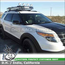 Cargo Roof Basket for 2012 Ford Explorer Factory Rack Crossbars using Thule 690XT MOAB Basket & 691XT Extension