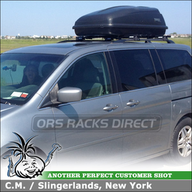 Cartop Cargo-Luggage Box + Roof Rack Crossbars for 2007 Honda Odyssey Factory Side Rails using Yakima RailGrab Towers & Thule 667ES Excursion