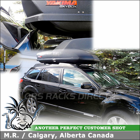 Cartop Cargo-Luggage & Snowboard-Ski Box for 2012 Subaru Outback Factory Rack Crossbars using Yakima SkyBox 18 Roof Box