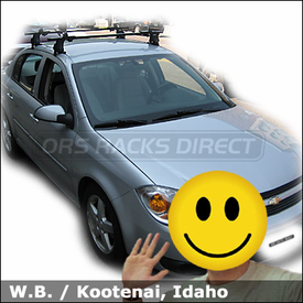 Chevrolet Cobalt Roof Rack for Canoe with Thule 400XT Base System & 579XT Canoe Rack