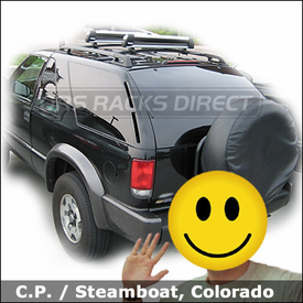 Chevy Blazer Ski Roof Rack with Thule Fat Mouth Clamps and 725 Ski-Snowboard Rack