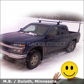 Chevy Colorado Crew Cab Truck Rack with Yakima Q Tower Half Pack System & Yakima Outdoorsman 300