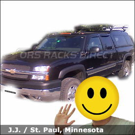 Chevy Silverado 2500 A.R.E. Truck Topper Rack System with Thule 300 Raingutter Roof Rack