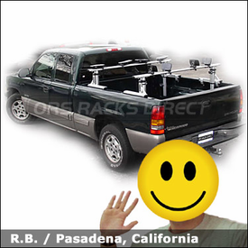 Chevy Silverado Ext Cab with Thule 422XT Xsporter Truck Rack and 883 Glide and Set Kayak Rack