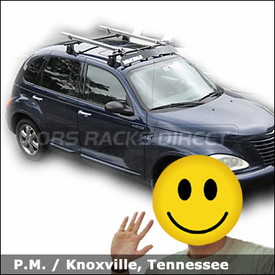 "Chrysler PT Cruiser with Yakima Q Towers Roof Rack, Yakima 44"" Fairing and RockyMounts Lariat SL Bike Racks"
