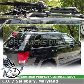 Fishing Rod Rack for 2009 Jeep Cherokee Factory Rack Cross Rails using Yakima ButtonDown Aero Ski Rack-Fishing Rods Rack