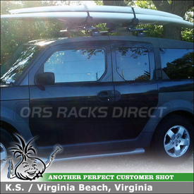 Fixed Point Roof Rack and Stand-Up Paddleboard Carrier for 2004 Honda Element Using Thule 460R, 3109 Fit Kit, AeroBlade, 810 SUP Taxi