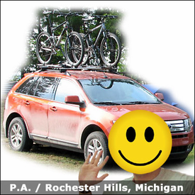 Ford Edge Roof Rack for Bikes with Thule 450R Rapid CrossRoad Car Rack System & 598 Criterium Bike Racks