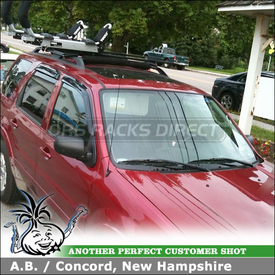 Ford Escape Hybrid Roof Rack Kayak Rack System using Thule 450 CrossRoad & 897XT Hullavator