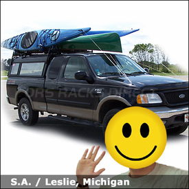 Ford F150 Camper Shell Truck Rack for Kayaks & Canoe with Thule TB60 Tracks, 430 Tracker II, 835XTR & 579XT