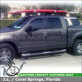 Ford F150 Stand Up Paddle Board Rack using Thule TP42 Roof Tracks, 430 Tracker II & Inno INA444 Locking SUP Carrier