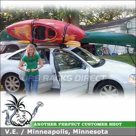 Ford Five Hundred Roof Rack Canoe Kayak Carrier System using Yakima Q Towers, Big Stack & Load Stops