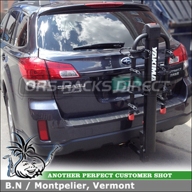 Four Bike Hitch Mount Rack for 2011 Subaru Outback Trailer Hitch Receiver using Yakima DoubleDown