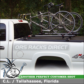 "GMC Sierra Truck Bed Rails / Tonneau Cover Bike Rack using Yakima 60"" Tracks, Control Towers & Sprocket Rocket"