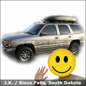 GMC Yukon with Yakima Lowrider Roof Rack and Yakima SkyBox 18 Cargo Box