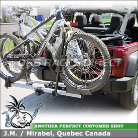 Hitch Bike Rack for 2011 Jeep Wrangler Trailer Hitch using Thule 917XTR T2 Platform Bike Tray Hitch Rack