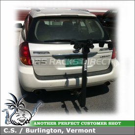 "Hitch Bike Rack on Subaru Legacy 2"" Trailer Hitch Receiver using Thule 956 ParkWay 4 Bike Rack"