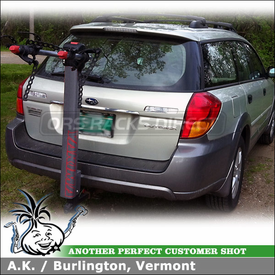 Hitch Bike Rack on Subaru Outback Trailer Hitch using Yakima DoubleDown Ace 2 Bike Rack