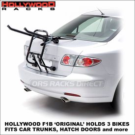 Hollywood F1B Original 3 Bike Trunk Rack | Hollywood Bike Racks for HatchBacks, Car Trunks etc.