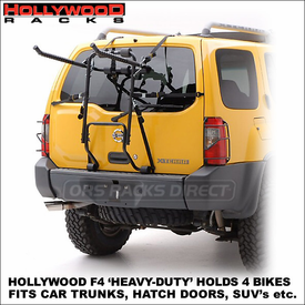 Hollywood F4 Heavy-Duty Strap Rack for 4 Bikes | Hollywood Bike Carriers for SUV's, Rear Hatch Doors, Car Trunks etc.