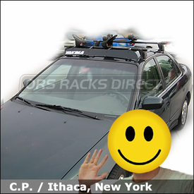 "Honda Accord Kayak Roof Rack with Yakima Q Towers System, Yakima 44"" Wind Deflector and Mako Saddles-HullyRollers Kayak Rack Combo"