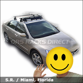 Honda Accord with Thule 400XT Aero Car Rack, Thule 871 Wind Fairing and Thule 590 V2 Bike Rack