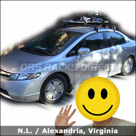 Honda Civic Hybrid Roof Rack for Skis & Snowboards with Yakima Q Towers System and Yakima Buttondown Aero