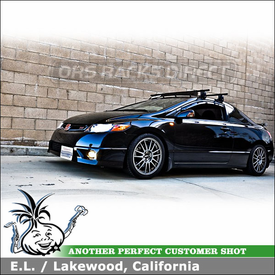 Honda Civic Si Roof Rack and Wind Fairing with Yakima Q Towers Car Rack & Wind-Noise Deflector