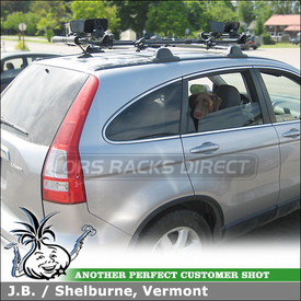 Honda CR-V Factory Rack Mount Kayak Rack using Thule 887XT SlipStream Kayak Roller System