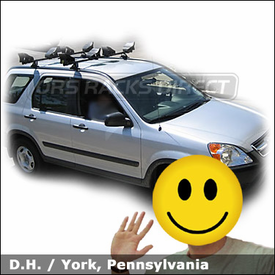 Honda CR-V with Yakima Control Towers Car Rack and Yakima LandShark Kayak Racks