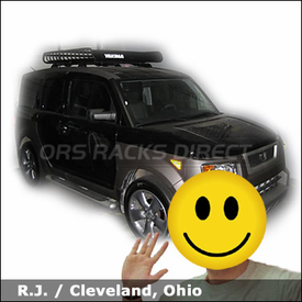 Honda Element Factory Roof Rack system with Yakima MegaWarrior Basket Rack