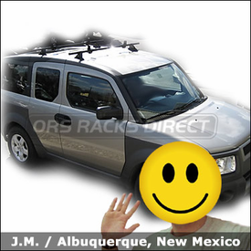 Honda Element with Thule 430 Tracker II Roof Rack and Thule 503 LoadStops