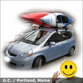 Honda Fit Roof Rack for Kayaks with Yakima Q Tower System and HullRaiser Kayak Carriers