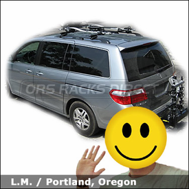 Honda Odyssey Bike Roof Rack with Thule 450 CrossRoad, 598 Criterium and Thule 964 Revolver