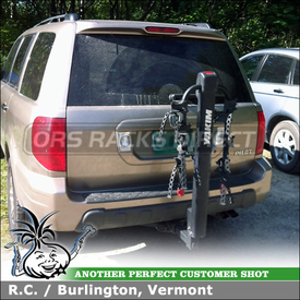 "Honda Pilot Trailer Hitch Bike Rack using Yakima DoubleDown 4 Bike Hitch Rack for 2"" and 1-1/4"" Hitches"